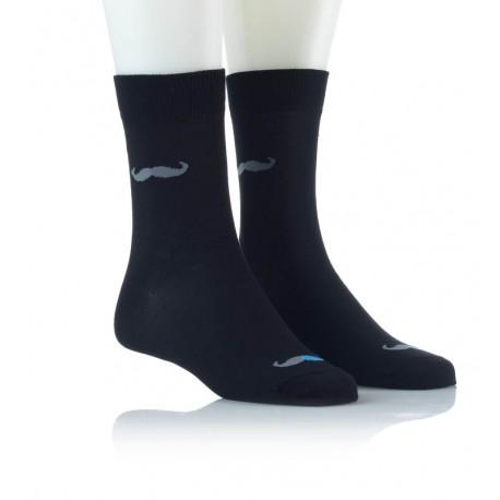 Modne nogavice - brki sivo modri
