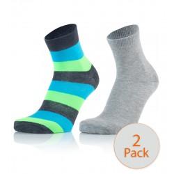 Otroške modne nogavice - črte antracit modra