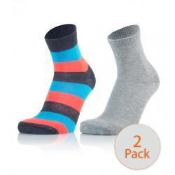 Otroške modne nogavice - črtaste (modro-ornažne) in svetlo sive