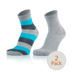 Otroške modne nogavice - črtaste (sivo-modre) in svetlo sive