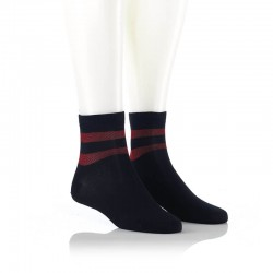 Modne nogavice - lurex črti rdeči