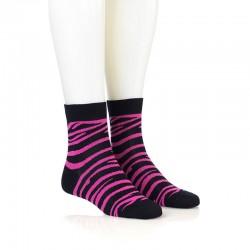 Modne nogavice - zebra pinki črna