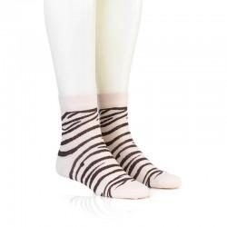 Modne nogavice - zebra beš rjava