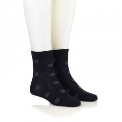 Modne nogavice - črne temno sive pike