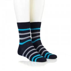 Modne nogavice - temno modre sive in 2 modri črti