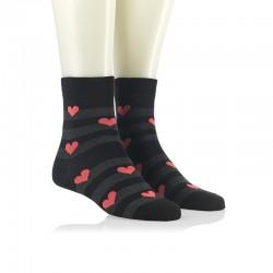 Modne nogavice - marelični srčeki na sivi črti