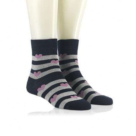 Modne nogavice - lila srčeki na modri črti