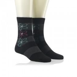 Modne nogavice - tri rožice sive in črne
