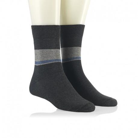 Modne nogavice - modre črte v pasu antracit