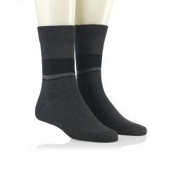 Modne nogavice - sive črte v pasu antracit
