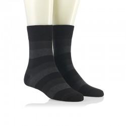 Modne nogavice - široke črno sive črte