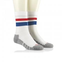Športne nogavice - Multisport retro bele z modro in rdečo črto