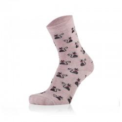 Otroške nogavice - mačke na roza podlagi (2 para v paketu)