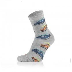 Otroške nogavice - avtomobili na sivi podlagi (2 para v paketu)