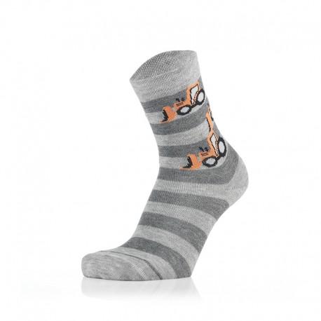 Otroške nogavice - oranžni traktor črte sv. sive(2 para v paketu)